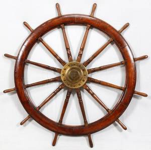OAK AND BRASS SHIP WHEEL