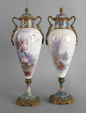 Pair of Sevres type porcelain urns 19th c