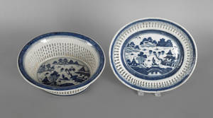 Chinese export porcelain Canton reticulated basket and undertray 19th c