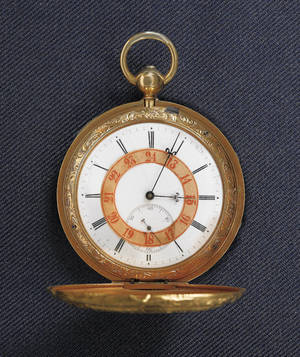 Swiss 18K gold pocket watch of American interest by HL Matile
