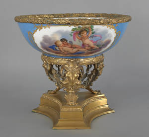Large Sevres type porcelain bowl late 19th c