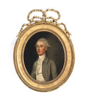 Continental oil on canvas portrait of a gentleman late 18th c
