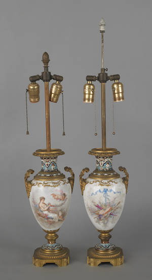 Pair of Sevres type porcelain lamps 19th c