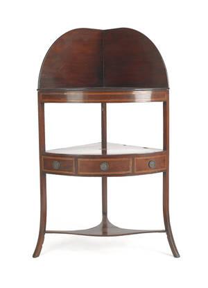 George III inlaid mahogany corner wash stand ca 1790