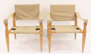 Pair of Matching Canvas  Wood Framed Chairs