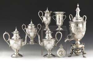 Philadelphia silver tea and coffee service by Bailey  Co ca 1870