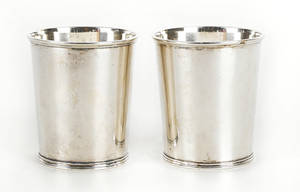 Pair of Philadelphia coin silver beakers ca 1820