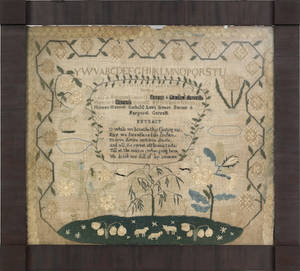 Chester County Pennsylvania silk on linen sampler wrought by