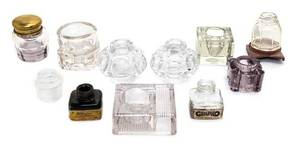 An Assembled Group of Eleven Glass Inkwells and Ink Bottles