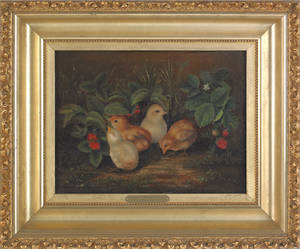 American oil on canvas of four chicks and strawberries