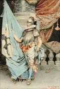 Giuseppe Signorini Italian 18571932 Gentleman in Partial Suit of Armor with Heraldic Flag