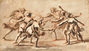 Continental School 18th Century Six Figures Fighting with SwordsPossibly the Horatii and the Curiatii