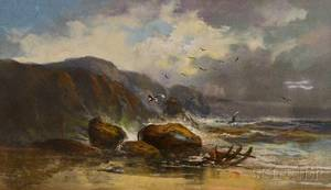 Paul R Koehler American 18661909 Shoreline with Remnants of a Wreck