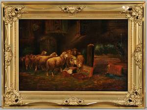 F Waldenberg GermanAmerican 19th Century Art in the Stable After Otto Gebler