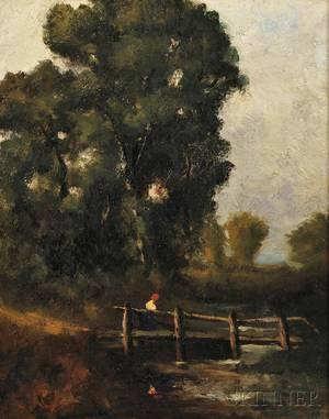 Attributed to David Cox the Elder British 17831859 Figure Crossing a Footbridge