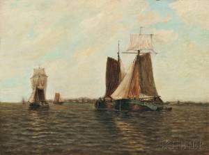 Paul Jean Clays Belgian 18191900 Sailing Vessels in a Quiet Harbor