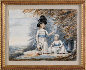 Watercolor of two children and their cat in a landscape mid 19th c