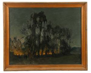 Night Fire In The Forest Oil On Canvas 1986