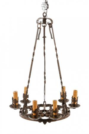 French Country Wrought Iron Six Light Chandelier