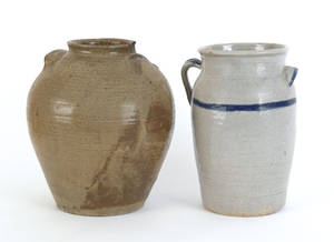 South Carolina or Georgia alkaline glaze stoneware crock 19th c