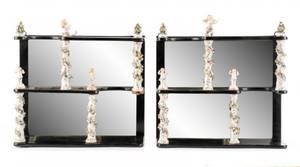 Pair of Meissen Porcelain Mirrored Shelves