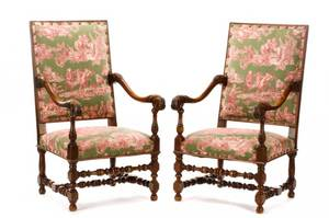Pair of Louis XIII Style Walnut Fauteuils