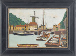 Primative oil on board harbor scene early 20th c