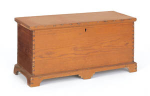Southern hard pine miniature blanket chest early 19th c