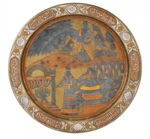 Fine Mixed Metal Seder Plate Moses  Golden Calf