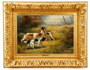 American Hunting Dogs Oil On Canvas 1908