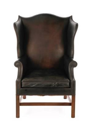 English Regency Style Walnut Wingback Armchair