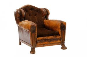 English Leather  Velvet Cigar Chair 18th19th C