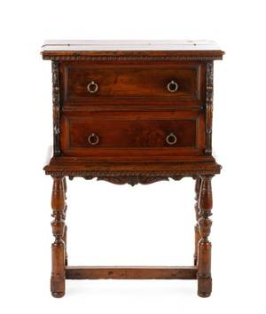 Italian Figural Walnut Desk or Cabinet 19th C