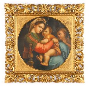 After Raphael Madonna Della Sedia Oil On Canvas