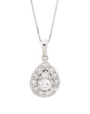 Ladies 14k White Gold  Diamond Teardrop Necklace