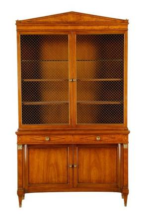 Federal Style Walnut Inlay Display Cabinet 20th C