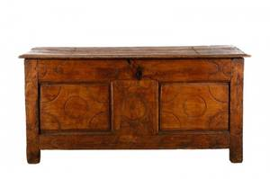 Large Stained and Carved Oak Blanket Chest