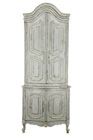 Painted French Provincial Style Corner Cabinet