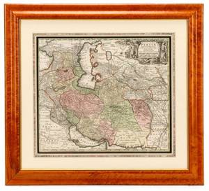 Seutter Hand Colored Map Persia 18th C