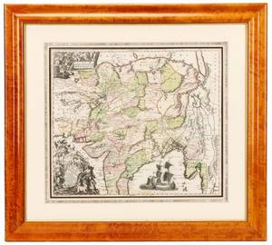 Seutter Hand Colored Map Central Asia 18th C