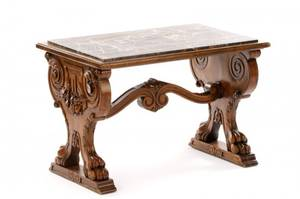 Renaissance Revival Style Carved Oak Accent Table
