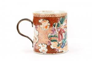 18th C Chinese Export Mandarin Mug Bronze Handle