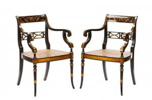 Pair of Regency Style Caned Armchairs 20th C
