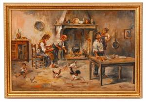 Italian School Interior Scene With Fireplace