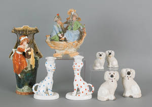 Collection of figural pottery and porcelain to include Staffordshire spaniels