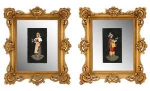 Pair Italian Pietra Dura Framed  Mirrored Plaques