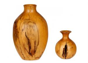 Two Turned Wood Vases Jim Robbie and Similar