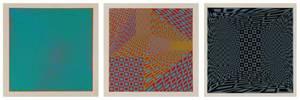 3 Unframed Roy Ahlgren Signed Optic Art Serigraphs