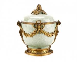 French Celadon Porcelain And Ormolu Cache Pot