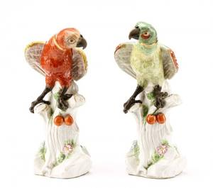 Collection Of Two Ceramic Parrots After Meissen